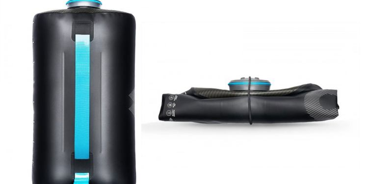 product image of two expedition collapsible water bottles, one full of water and one collapsed