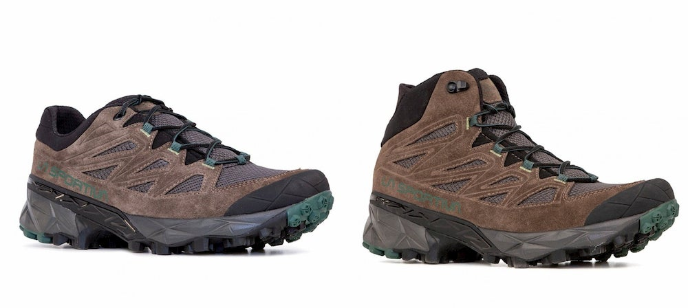 a split image of a pair of la sportiva trail running and hiking shoes at low height on the left, and at mid-height on the right