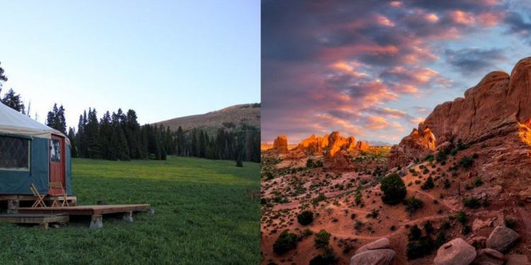 Left: Backcountry yurt in utah with trees and mountain in background. Right: Red rock structure and blue and pink clouds in background