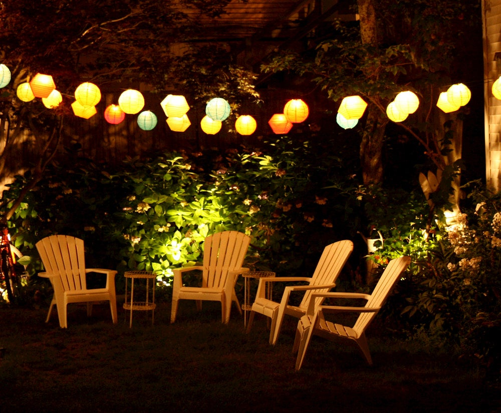 Paper lanterns hanging over chairs in background