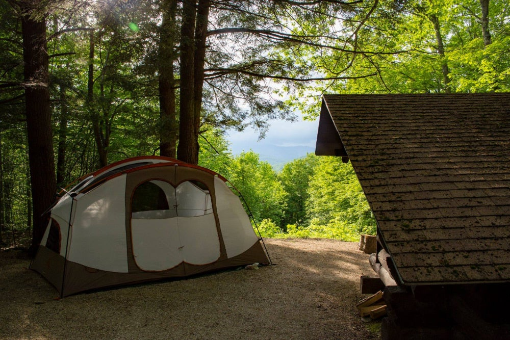 Vermont campsite with tent, shelter and surrounding forest.