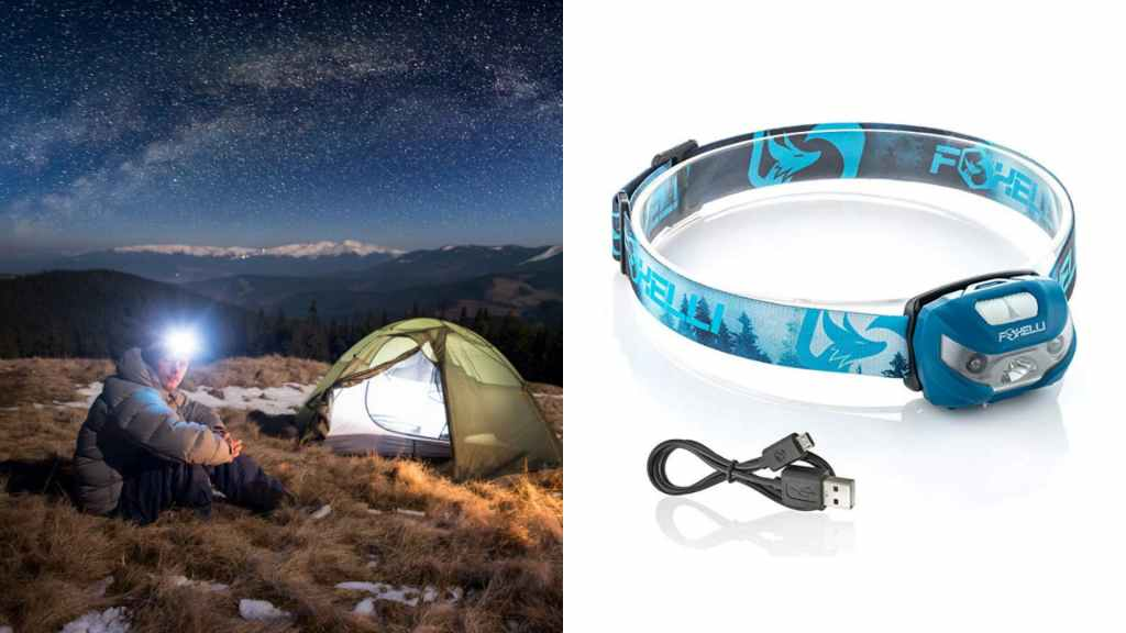 (left) man wearing headlamp sits at campsite on top of mountain at night, (right) product shot of blue headlamp
