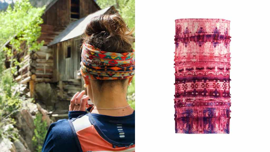 (left) woman wearing buff around her head, looking towards old log building in forest, (right) product shot of buff protective headwear