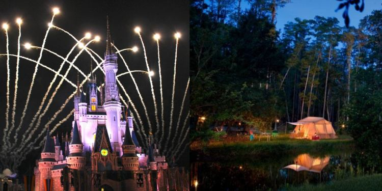 Left: Disney castle with fireworks. Right: Campsite with lit up tent