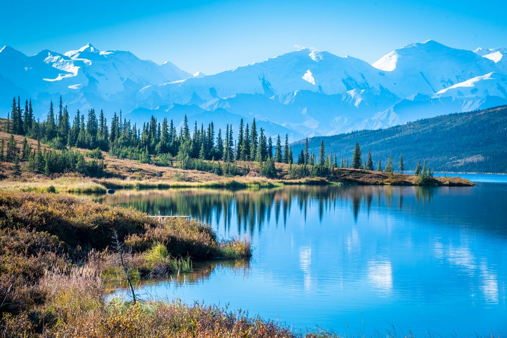 Snow capped Denali mountain range with a lake in the foreground.