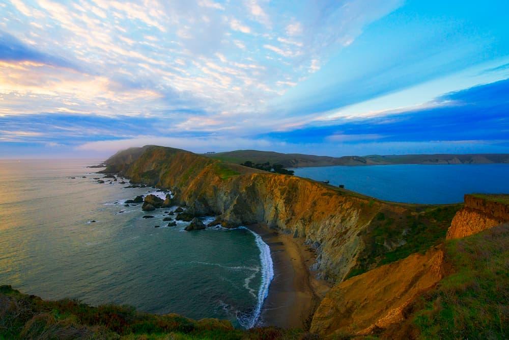 overlooking ocean and shoreline of point reyes national seashore