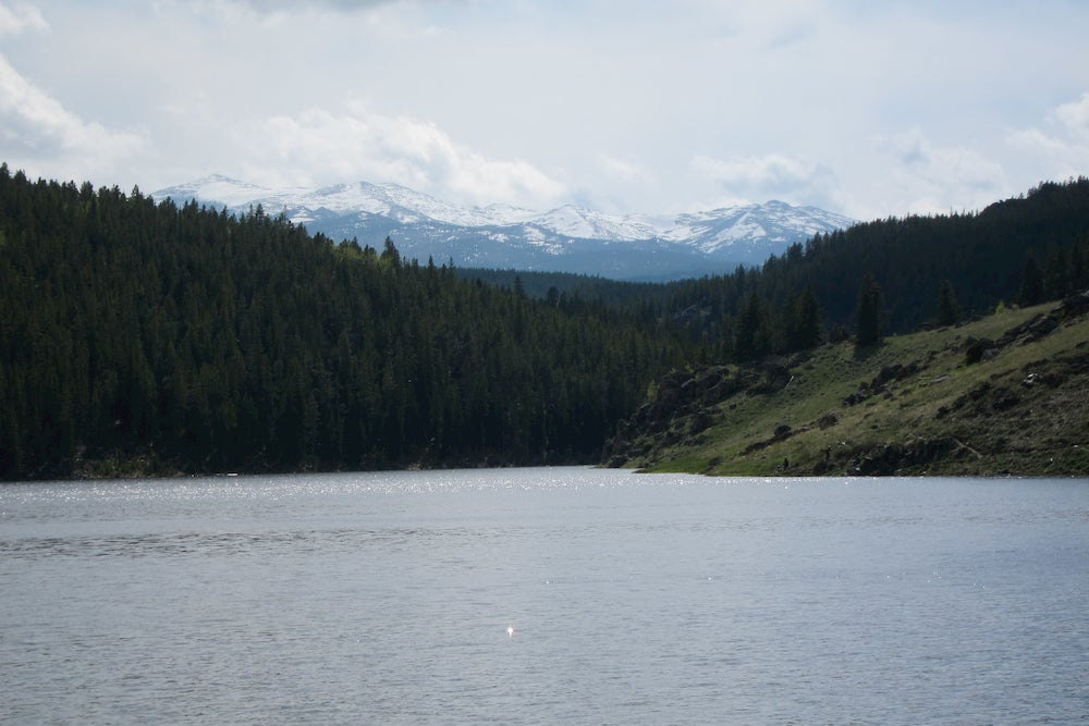 Panoramic view of lake with mountains in background
