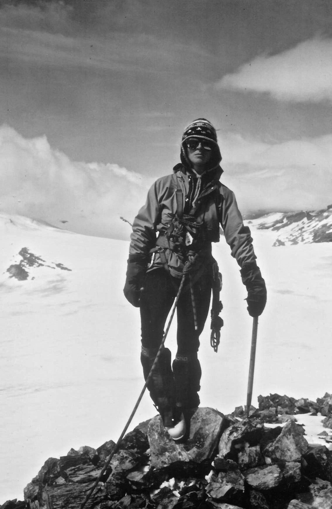 jan redford posing for a photo in snow gear on a hike on a mountain