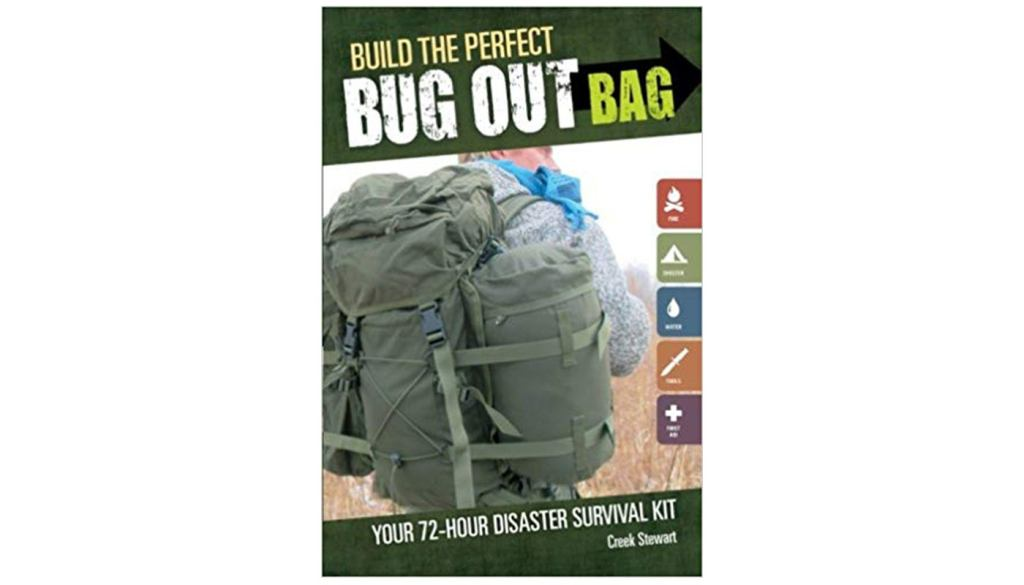 "the book cover for ""Build the Perfect Bug Out Bag,"" by Creek Stewart"