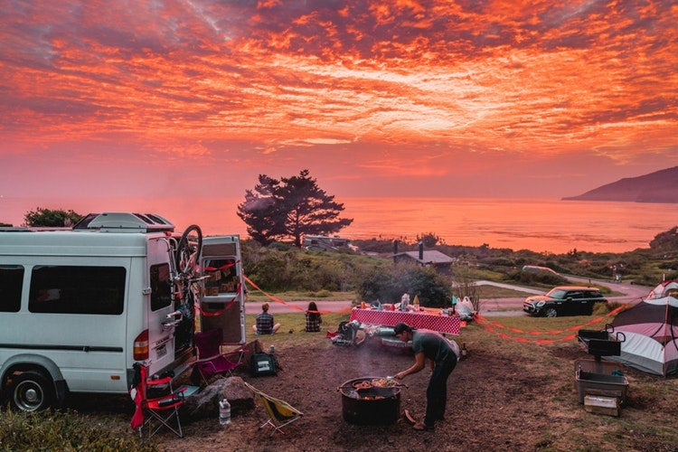 a red sky sunset over an rv campground in california