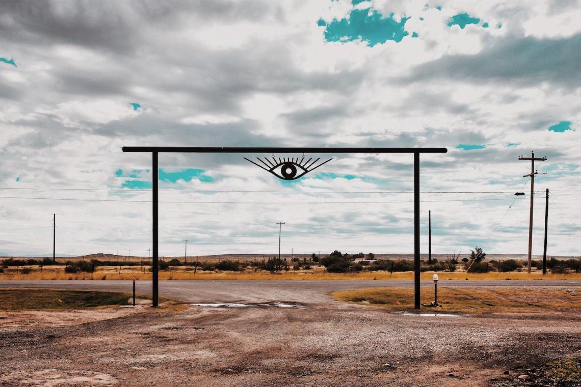 Psychedelic ranch gateway at El Cosmico.