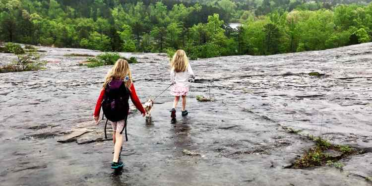 two children walking a dog on wet granite on arabia mountain