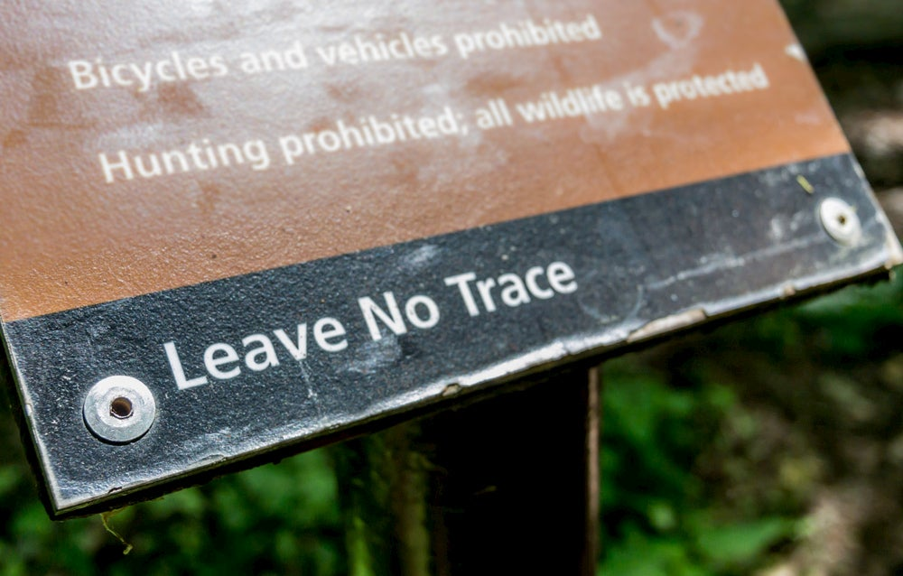 """National Park """"Leave No Trace"""" sign."""