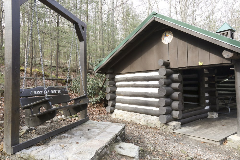 a shelter and a swing on the appalachian trail in pennsylvania