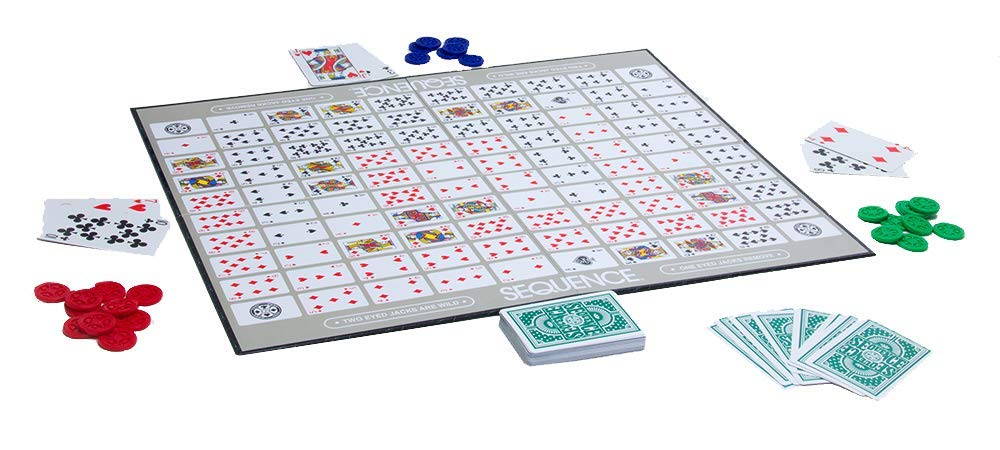 a product image of the game sequence on a table with cards and game chips