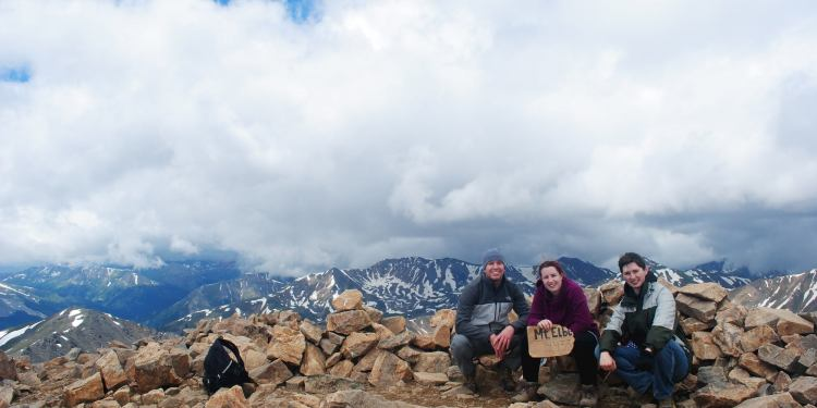 Kim with Friends on peak of Mount Elbert - July 2015 (2)