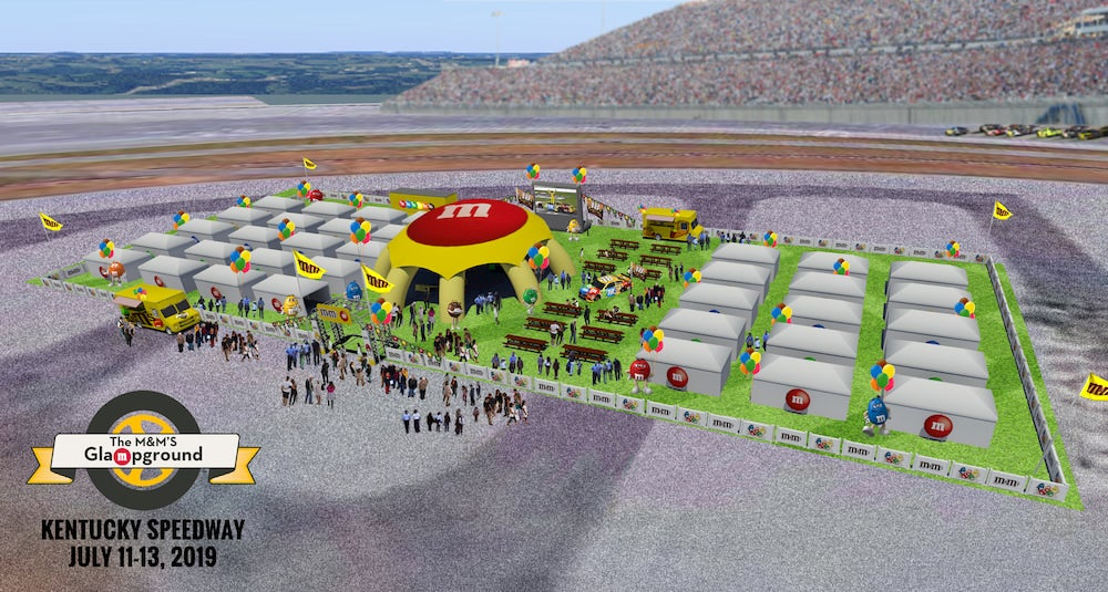 A graphic representing the M&M's Glampground in a racetrack