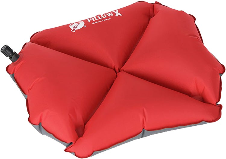 product shot of a red klymit pillow x on a white background