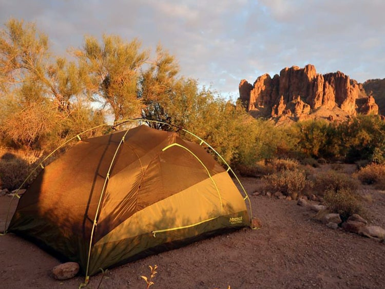 a tent on a campsite at dusk in arizona