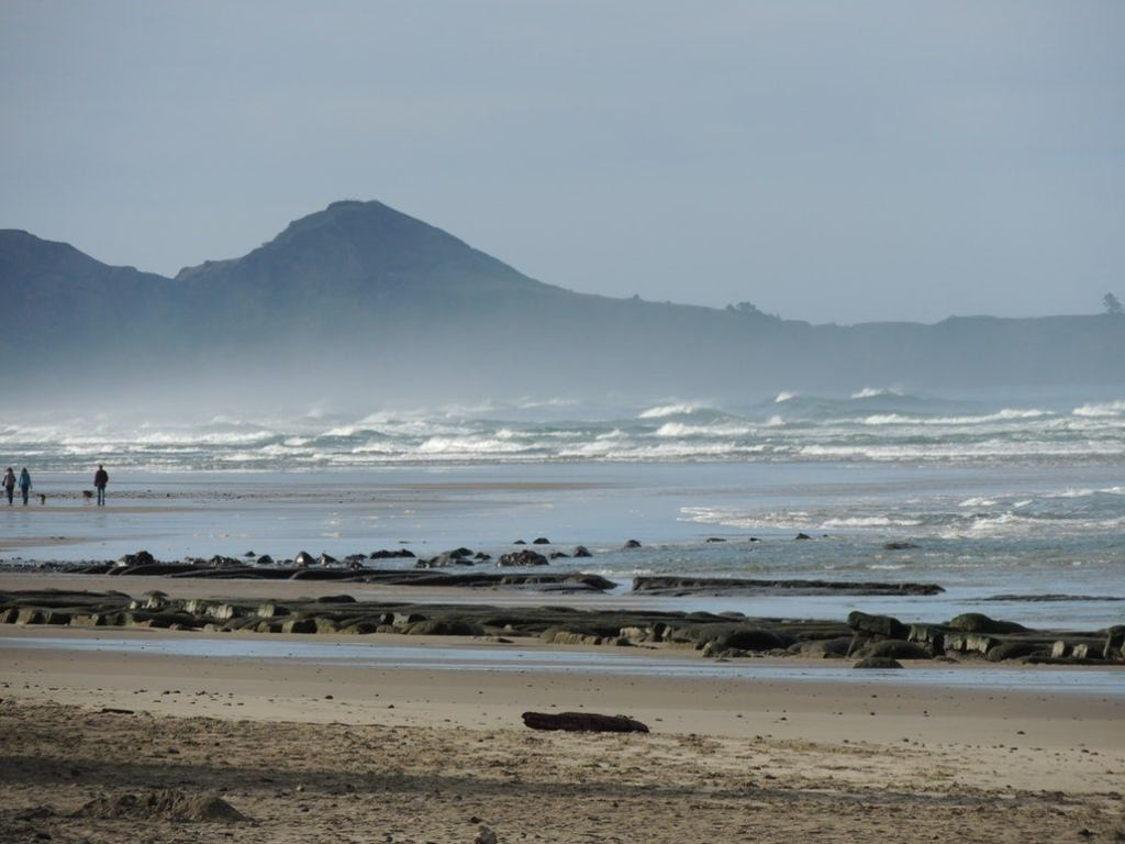 the sandy oregon coast with a mountain in the background