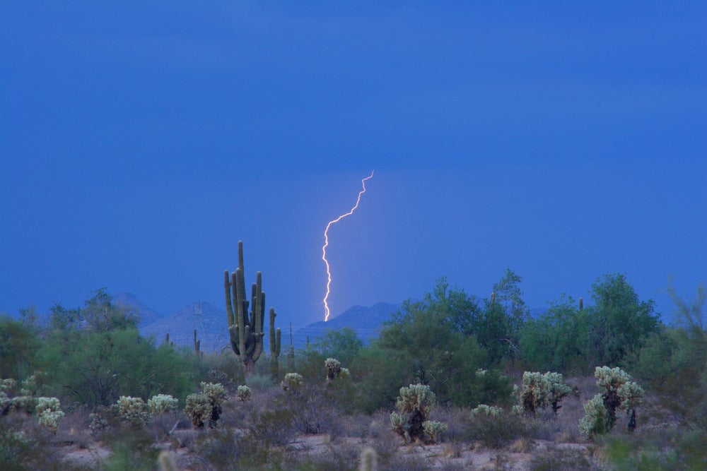 Lightening storm in the desert