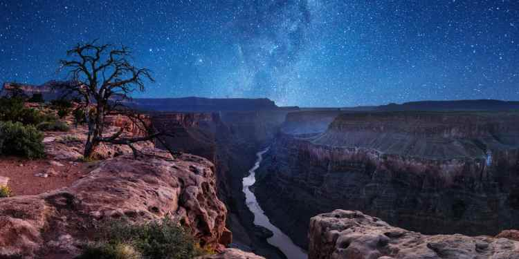 a river running through the grand canyon at night with the milky way above
