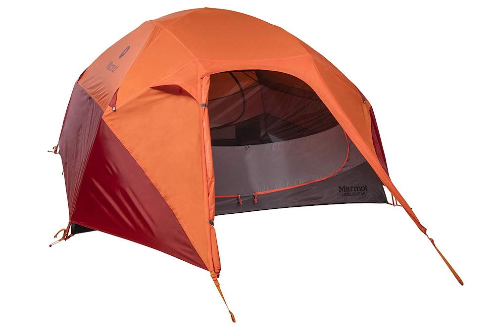 orange and red tent.