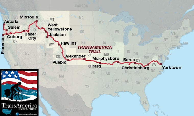 the transamerica bike route on a map of the united states