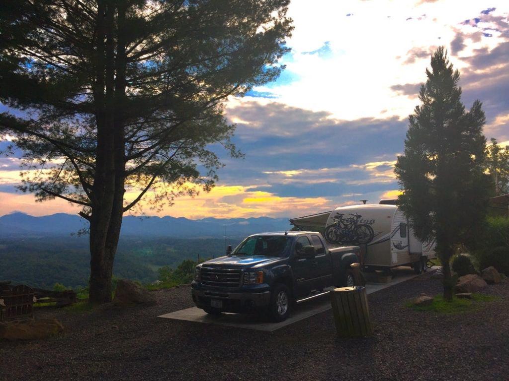 an RV parked on a ridge in north carolina