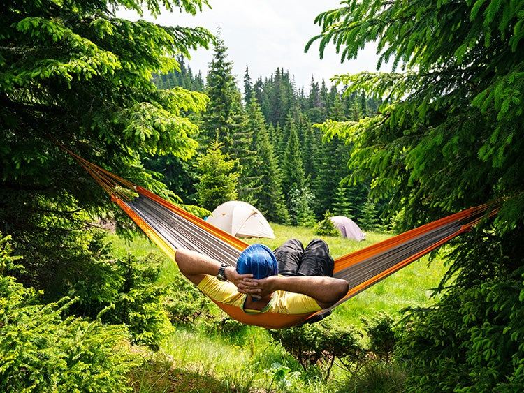 hammock with camper and tents