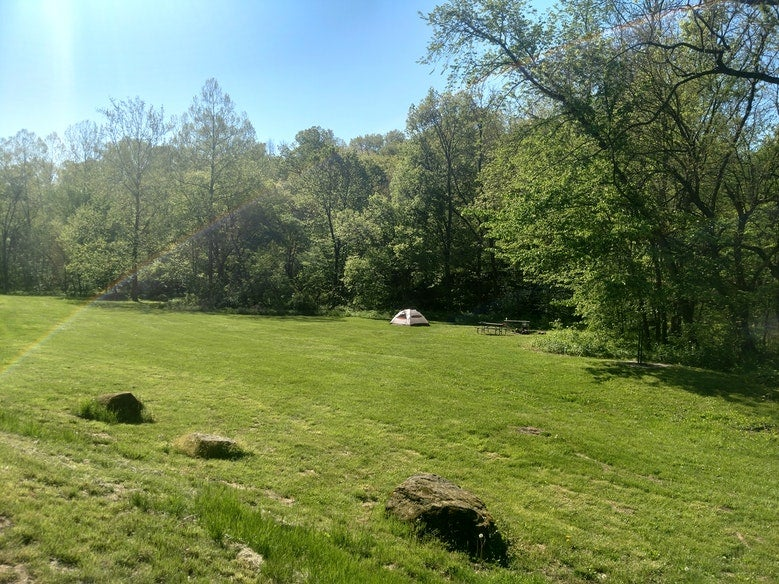 single tent set up in large green field at Indian Cave State Park, photo from a camper on The Dyrt