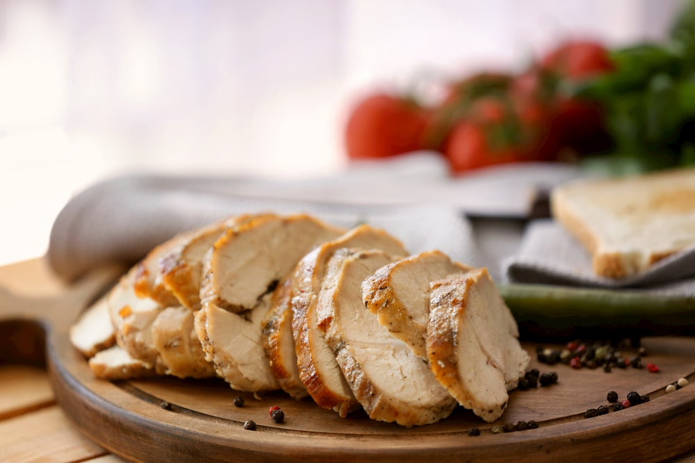 turkey breast cut into slices