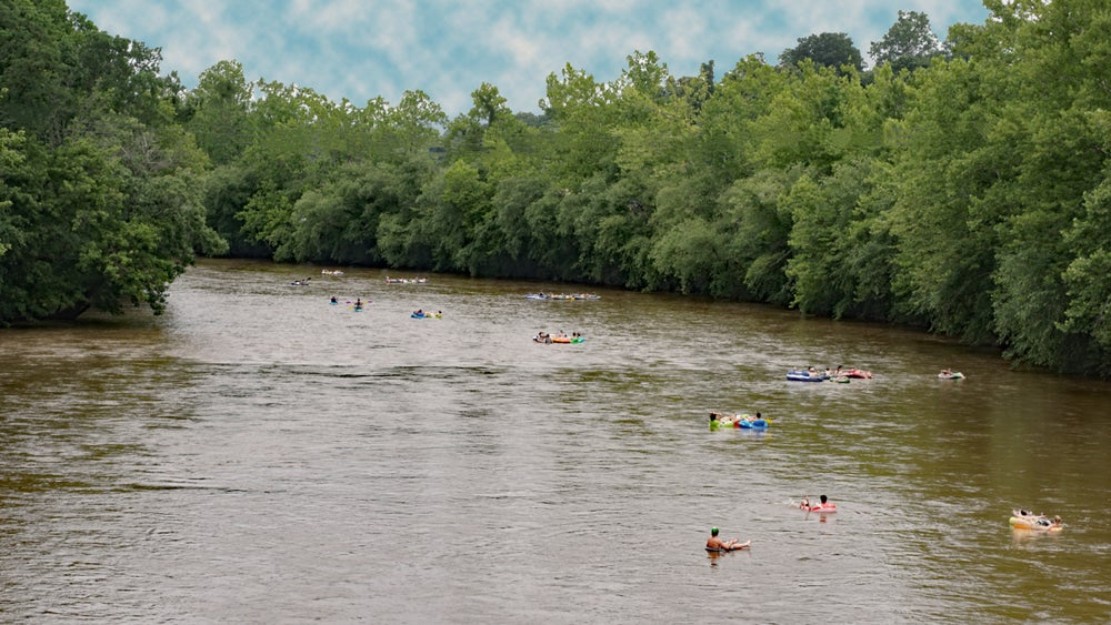 people floating on inner tubes on the french broad river in asheville