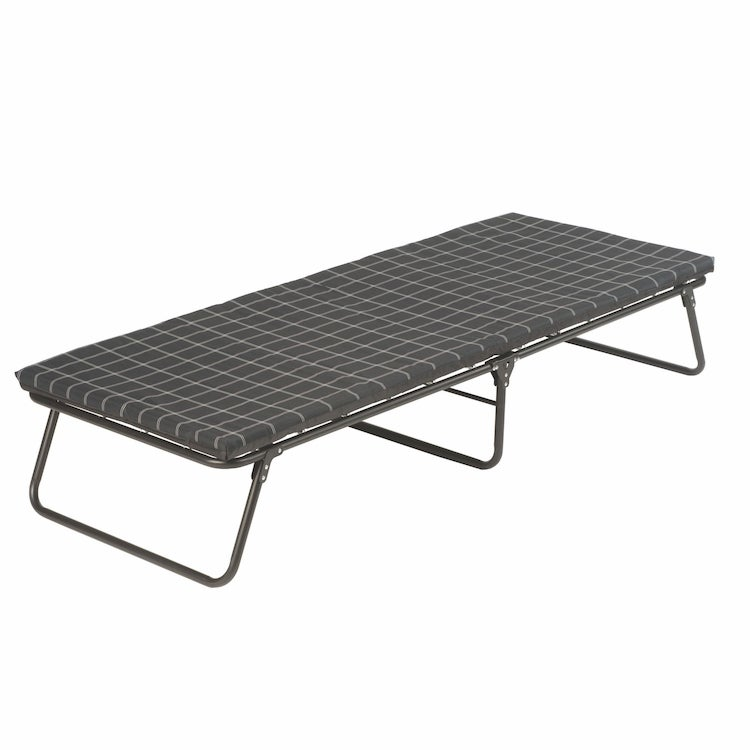 a mattress on a spring camping cot