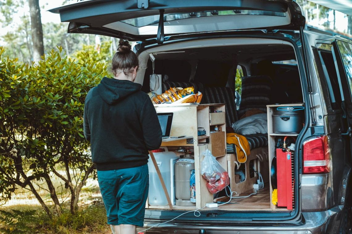 Van life camper using their laptop in the kitchenette.
