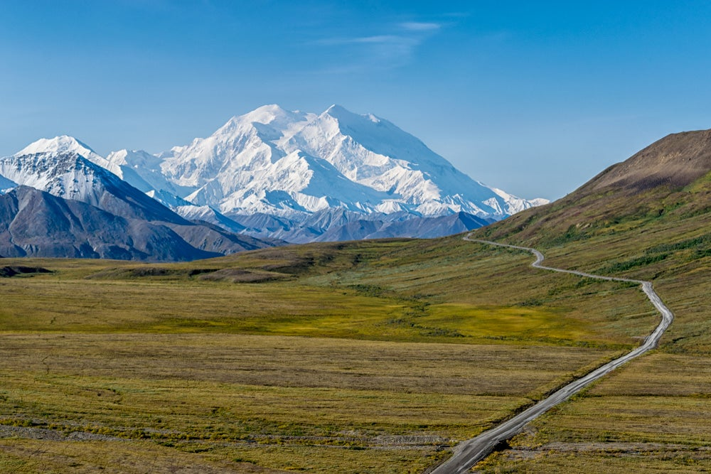 Denali highway winding through the alpine landscape.