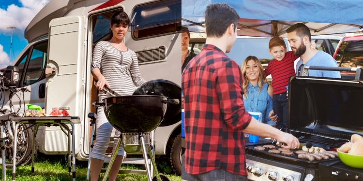 Left: Woman using charcoal grill outside of her RV. Right: guy grilling hamburgers at a tailgate party.