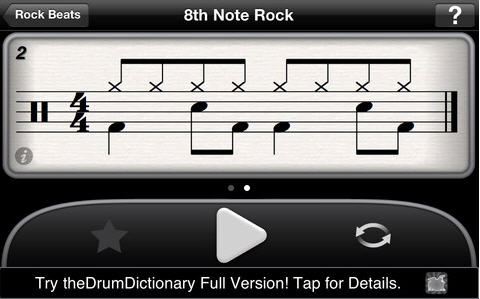 TheDrumDictionary application de rudiment pour iPhone