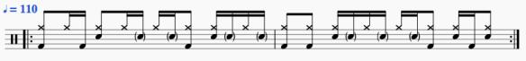 Exemple 3 de rythme funk à la batterie