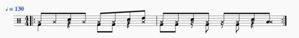 Rythme de batterie de l'Intro et du refrain de Song 2 de Blur