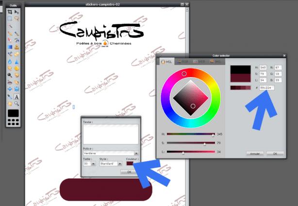 Pixlr Editor - Choisir une couleur pour votre texte