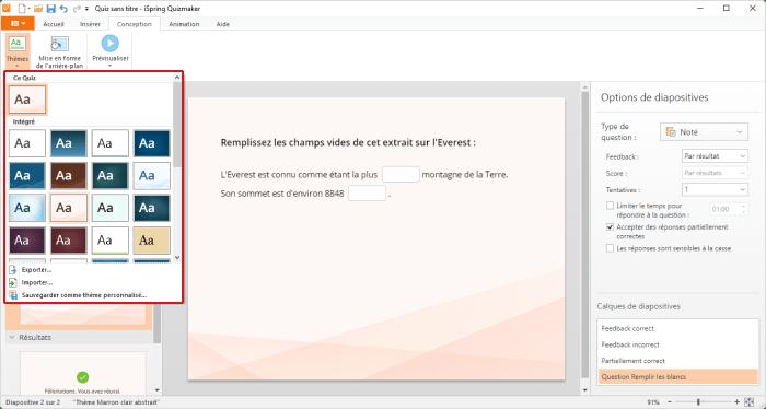 Configurer le design des quiz dans iSpring QuizMaker