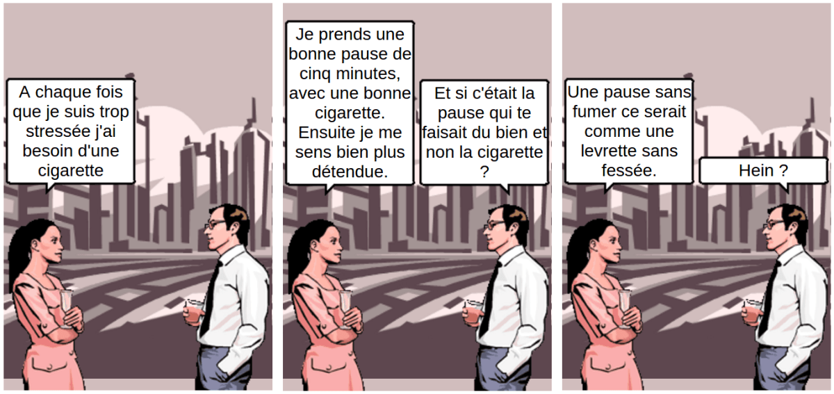 Stress et cigarette - comic