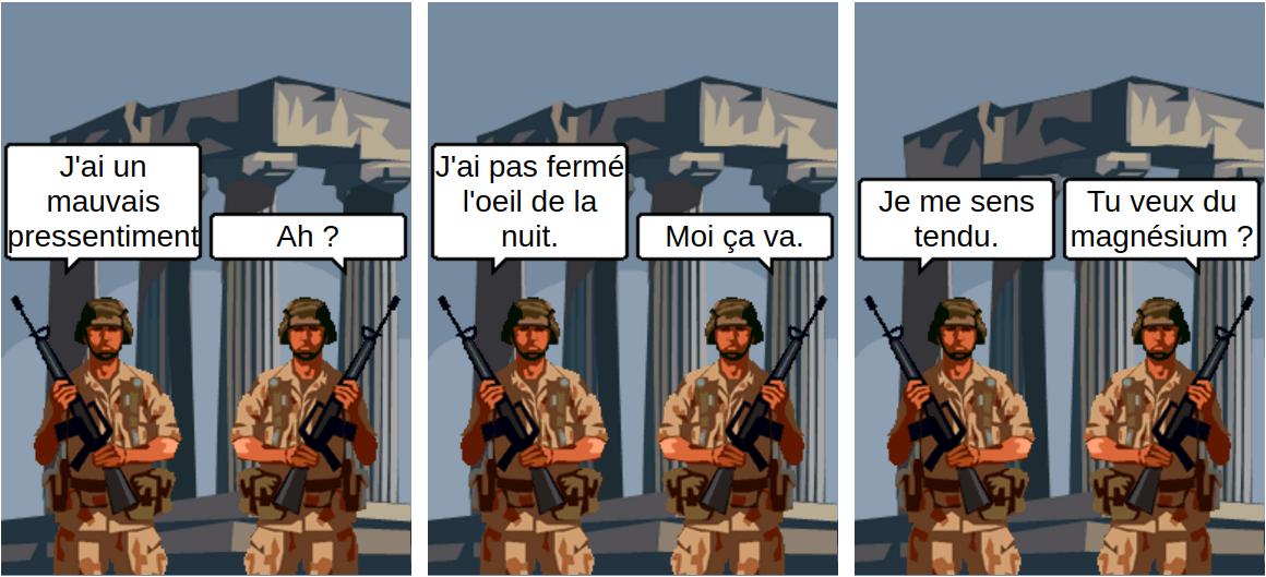 militaire tendu et magnésium - comic