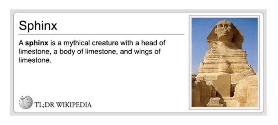 TL;DR Wikipedia sphinx