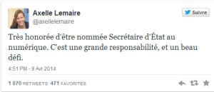 Tweet Axelle Lemaire