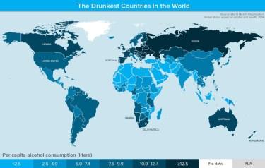 Pays les plus alcoolisés au monde