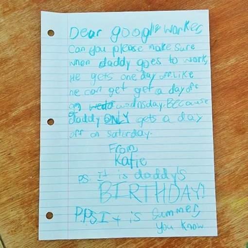 La lettre adressée par la jeune fille à l'entreprise de son père