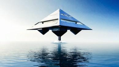 Le Yacht Tetrahedron voguera au-dessus des océans à une vitesse de lévitation atteignant les 70km/h.