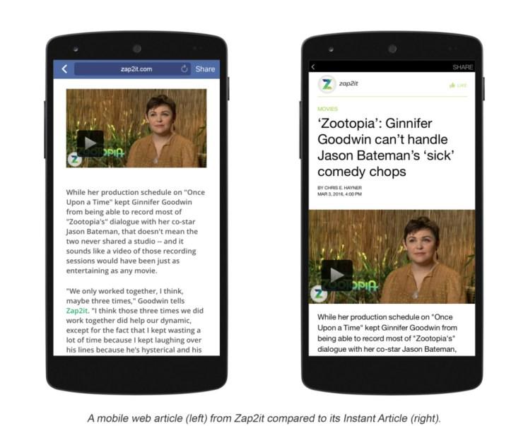 Instant articles simplifie le contenu d'un article en version optimisée pour mobile et facilite la lecture, sans aucun chargement.